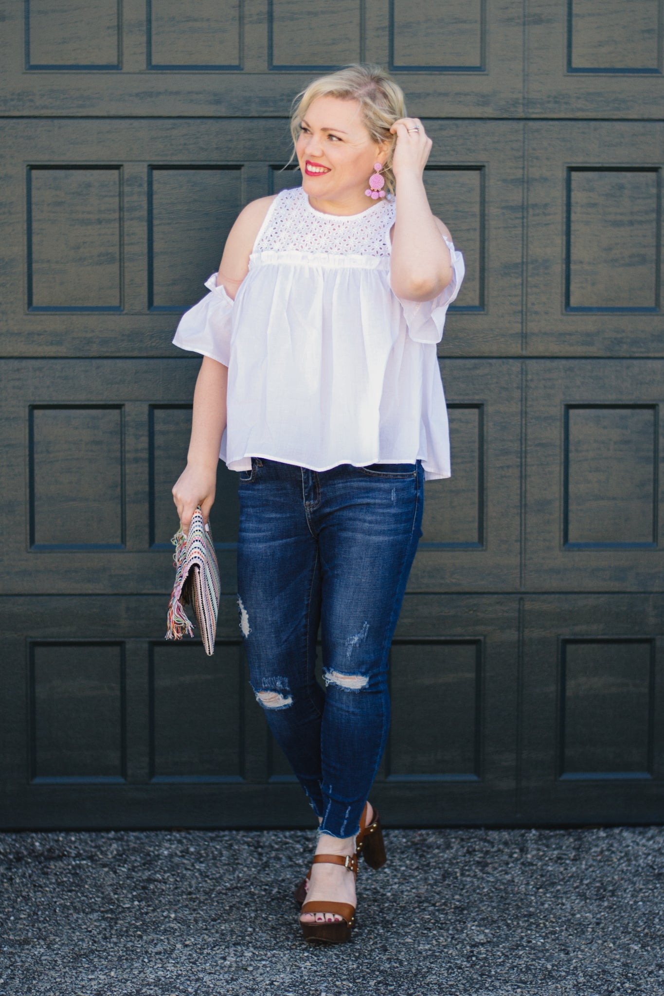 White Cold Shoulder Flutter Sleeve Blouse