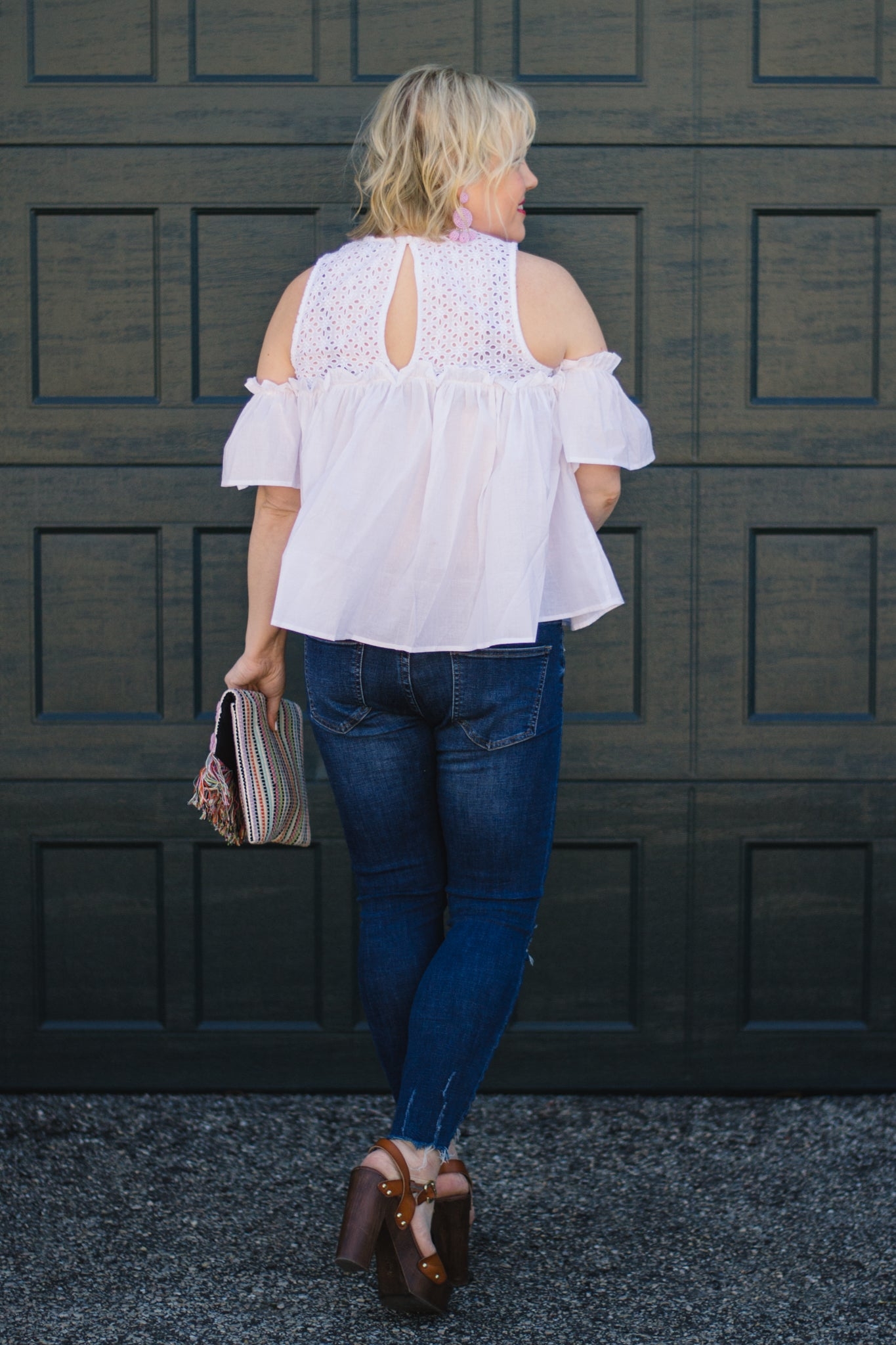White Blouse with Cold Shoulder and Keyhole Back