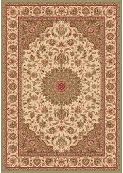 Bostan 1921 Beige/Green - Oval - 5' X 7' (152cm x 213cm)