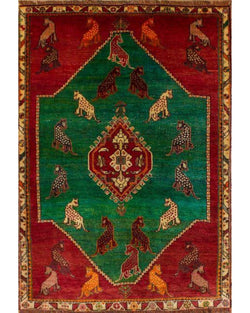 "Gabbeh 90.7 Green/Red - 3'8"" x 5'4"" (112cm x 162cm)"