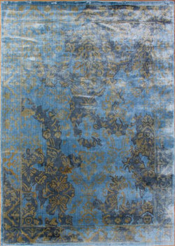 "Loom Print 12/12-Kcb-7 Blue/Gold - 5'6"" x 7'10"""
