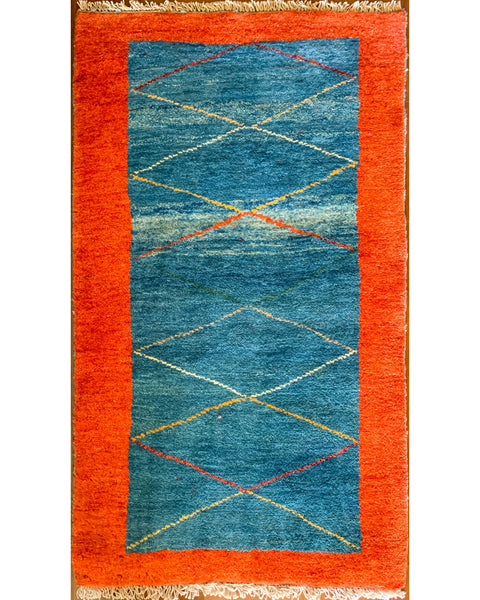 "Gabbeh 54.6 Blue/ Red - 2'7"" x 4'7"" (78cm x 140cm)"