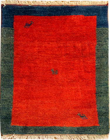 "Gabbeh 49.7 Red/Green - 2'9"" x 3'10"" (85cm x 117cm)"