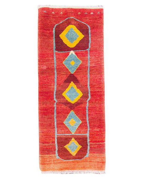 "Gabbeh 116.1 Multi/Red Runner  - 3'3"" x 7'9"" (98cm x 237cm)"