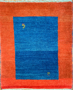 "Gabbeh Blue / Red 75.05 - 3'5"" x 4'8"" (105cm x 143cm)"