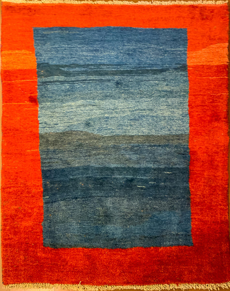 "Gabbeh 88.55 Blue/Red - 3'7"" x 5'5"" (108cm x 164cm)"