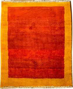 "Gabbeh 76.4 Orange/Mustard - 3'5"" x 4'10"" (104cm x 147cm)"