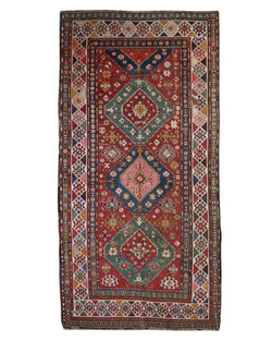 "Kazak Red 90 Year Old Antique - 4'9"" x 10'3"""