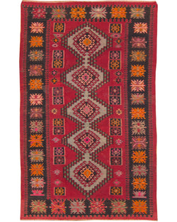 "Kilim Shirvan Red/Black - 6'2"" x 9'9"" (188cm x 297cm)"