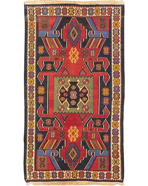 "Kilim Shirvan Red/Black - 6'0"" x 10'10"" (183cm x 330cm)"