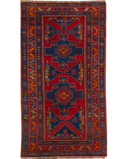 "Kazak Red & Multi - 4'7"" x 8'5"" (143cm x 257cm)"