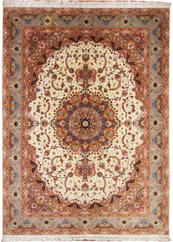 Tabriz-Shiva- Cream/Rose - 8' x 11'2""