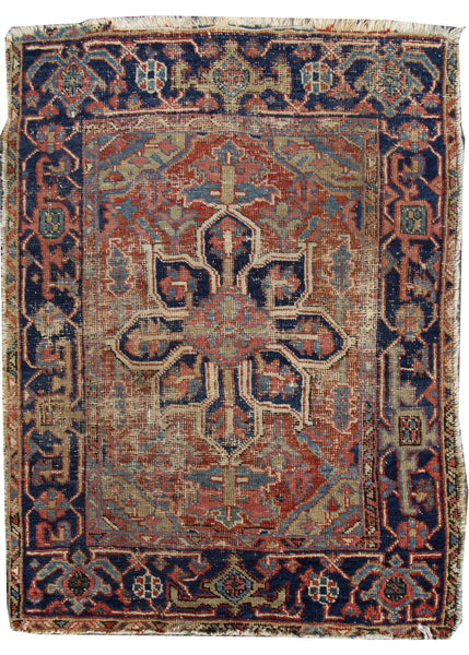 "Antique Heriz Brown-Red - 3'1"" x 4'"