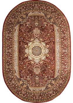 Bostan 05 Red - Oval - 5' X 7' (152cm x 213cm)