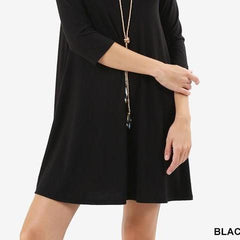 Swing Top Solid Basic Round Neck Swing Dress