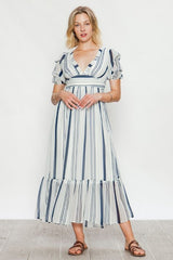 This adorable a semi-sheer maxi dress featuring short gathered sleeves, a plunging v-neckline, banded empire waist  with smocked back, flounce hem, back keyhole button closure,and woven lining.