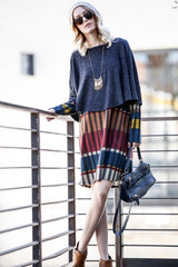 Cape dress stripe print knit long sleeve relaxed fit sweater  stripe dress.