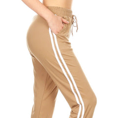 Solid varsity striped jogger, sweat pants with elastic waistband with drawstring, waist pockets,and cuffed hem, super soft, and  Comfortable.