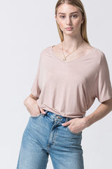 Comfortable tan loose top, perfect for a casual  day out.