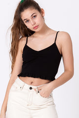 Cute simple ruched front crop cami top.