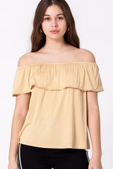 You are going to love this mango lace trim off the shoulder top.
