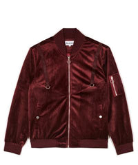 Centauri Velour Bomber Jacket- Oxblood