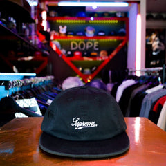 Supreme's classic script logo is featured on this traditional 6-panel fitted baseball cap. Color: Black