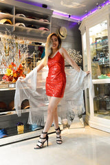 Allover Sequins Red Dress Atomic 1800