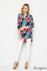 Paisley print shirttail blouse. Made In USA