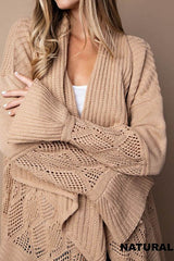 Natural Tan Open front Long cardigan.