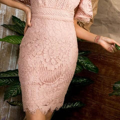 Dress up to dazzle in special occasion dresses that showcase your unique, individual style. Complete your signature look with this beautiful kimono sleeve open back, lace mini dress with Zipper back & tie. This dress is perfect for an evening out, Prom dress, or a Cocktail dress.