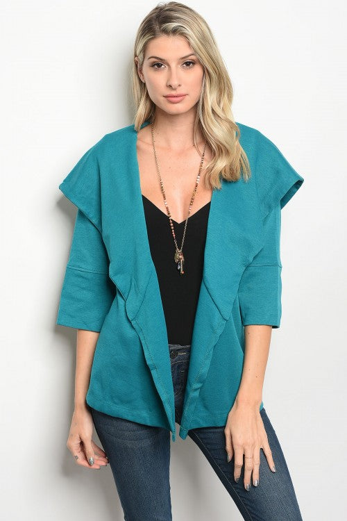 Collar Open Belted Jacket