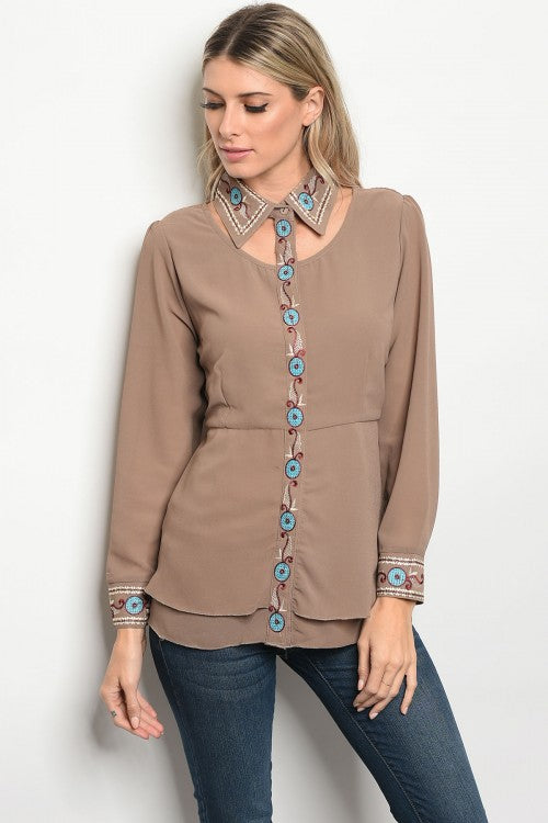 Floral Embroidery Long Sleeve Button UP