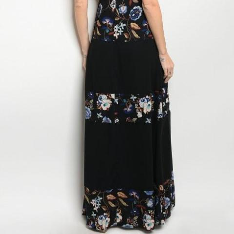 Floral Print Blocked Maxi Dress