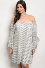 Plus size long bell sleeve off the shoulder tunic dress.