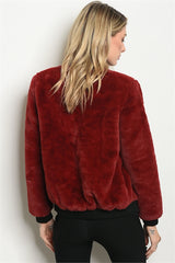 Red Faux Fur Bomber Jacket Atomic 1800