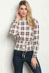 Long sleeve round neckline corset lace up checkered top.