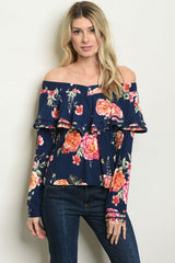 This long sleeve off the shoulder ruffled floral top, is perfect with some nice jeans.