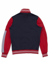 Reason Jacket Red- Poly tricot full zip track jacket. Features sewn panel construction with floral embroidery artwork, contrast  piping and contrast striped collar and hem, and custom molded R zipper.