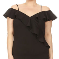 Black Spaghetti Strap Ruffle Trim Dress- Plus Size