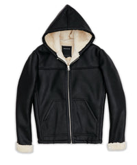 Reason Brand- Faux leather hooded jacket with full sherpa lining.