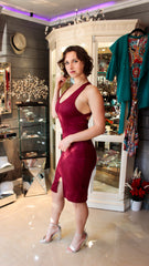 Burgundy Suede Dress Atomic 1800