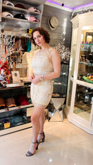 Ivory Sequins Dress Atomic 1800