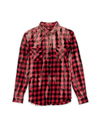 Red bleach washed flannel, button down shirt.   Fits true to size.