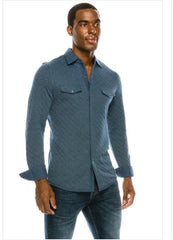 Blue quilted long sleeve button up.
