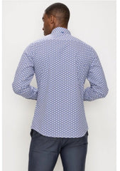 Dressy button up long sleeve- Blue/ White.