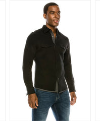 Black quilted button up long sleeve.