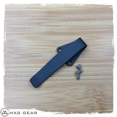 Custom Made Titanium Deep Carry Pocket Clip For Spyderco Military