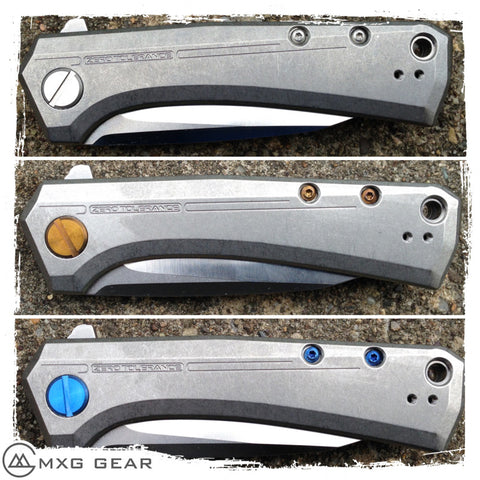 Custom Made Titanium Standoffs, Scale Screws and Clip for Zero Tolerance ZT0808