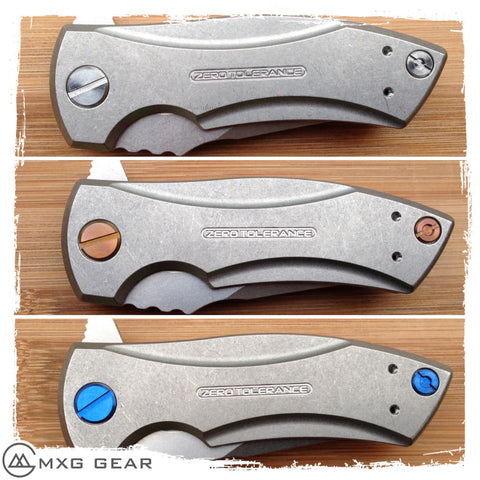 Custom Made Titanium Standoffs, Scale Screws and Clip for Zero Tolerance ZT0900